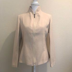 FENDI 100% Cashmere Zip Front Tan Blazer Sz. XL